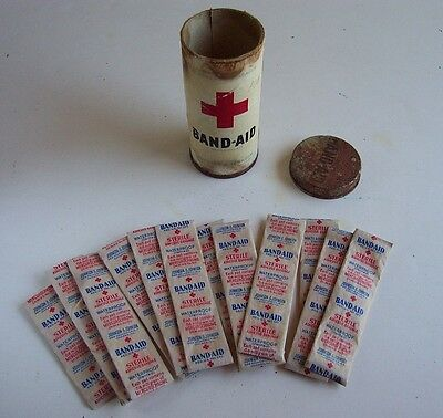 Antique Johnson & Johnson RED CROSS BAND-AID Container with Original Bandages