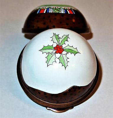 Staffordshire Enamel Box - Traditional English Christmas Plum Pudding & Holly