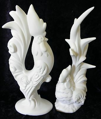 Ready to Paint Ceramic pair Roosters Bisque fired to 03