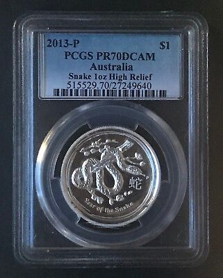 2013 Australian Lunar Snake Proof High Relief PCGS PR70DCAM  1 oz Silver Coin