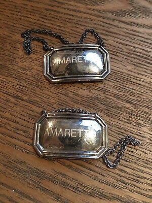 Pair English Sterling Silver 925 Vintage Amaretto Bottle Labels Tags