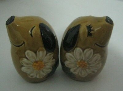 Retro Very Cute Salt And Pepper Shakers: Dog Figurals.