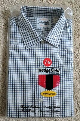 Sedgefield Boys Shirt 12 Blue Bell Prep Youth 60s USA School BLUE-Plaid L/S VTG
