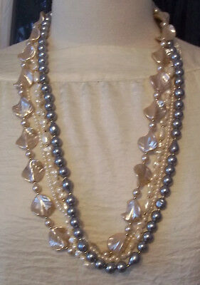 Vintage Four Strand Faux Pearl & Pearlized Beads White Gray Necklace 28 in.