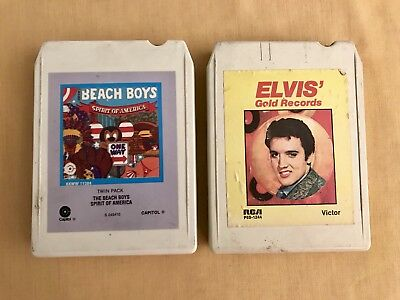 Lot of 2 Vintage Country Music Eight 8 Track Tapes ELVIS AND THE BEACH BOYS