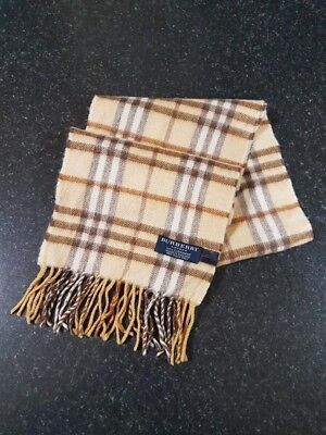 Burberry Scarf (C028) 100% Cashmere Childrens Brown/beige Nova Check Made In Uk