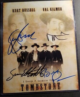 Signed 8X10 Photo Sam Elliott Bill Paxton Kurt Russell Val Kilmer Tombstone COA