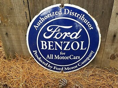 """.FORD  BENZOL ""   Benzol  steel porcelain gas station sign."