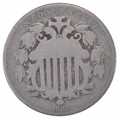 First US Nickel - 1867 - Shield Nickel - US Type Coin - Over 100 Years Old! *097