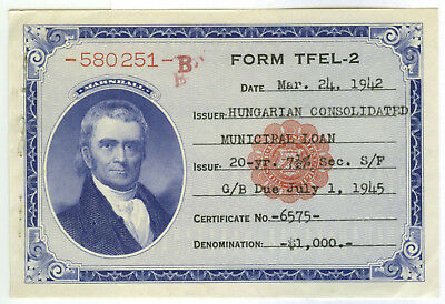 U.S. Hungarian Consolidated Minicipal Loan Voucher 20 Year 7.5%