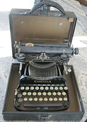 Antique Corona #3 Folding Typewriter Circa 1917 with Case Model 3 - Patent Dated