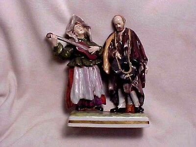 Vintage Porcelain Figurine Lady And Man Musicians Made In Germany