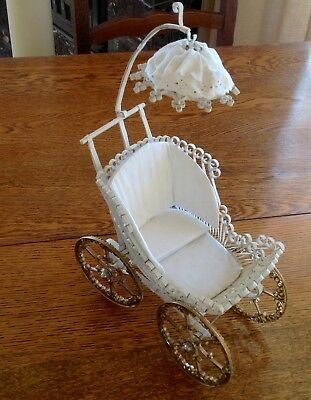 Vintage Scrolled Metal Doll Buggy Carriage Stroller Small Ornate Wire Mesh