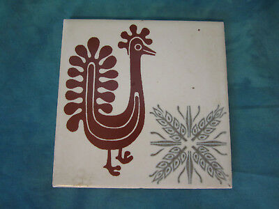 "Vtg Mid-Century ~ Rooster Tile Ivory Brown Gray  4 1/8"" x 4 1/4"" Super-Cute! USA"