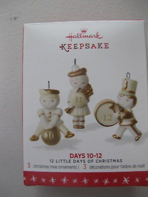 2016 Hallmark 12 Little Days of Christmas Days 10-12 Ornament Set of 3 Ornaments