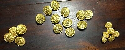 Vintage Military Brass BUTTONS.  WATERBURY. Vintage.  lot of 20