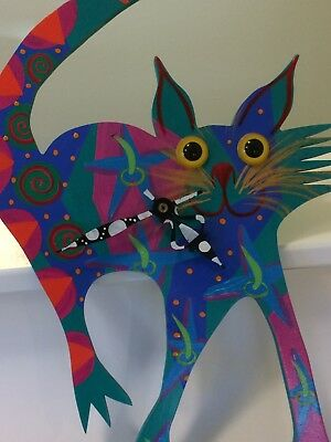 Working Colorful Cat clock by artist Susan Wright