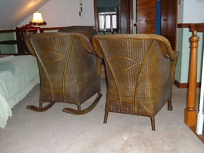 Heywood Wakefield Antique Wicker Rocking Rocker With Matching Chair