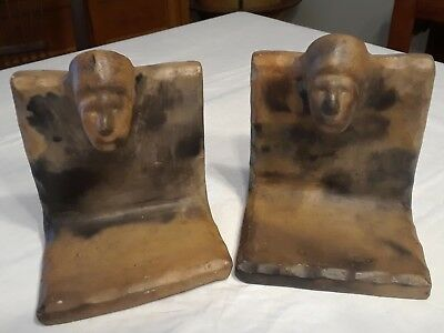 CATAWBA INDIAN POTTERY 1930 NATIVE AMERICAN BOOKENDS,  by EDITH BROWN