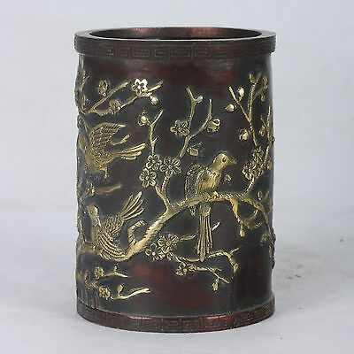 """Old Copper Handwork Carved """"Magpie and plum blossom"""" Vase,Qian Long Mark / 喜上眉梢"""