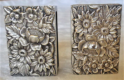Two Vintage S. Kirk & Son Sterling Silver Repousse Matchbox Cases 1828 Pat. 43g