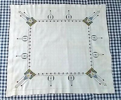 Arts and Crafts Mission Style Stickley Era Embroidered Tablecloth AS IS