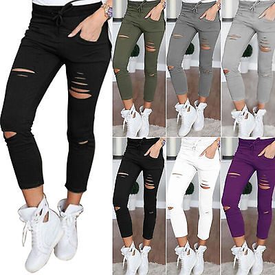 Women Stretch Ripped Jeans Pants Lady Slim Skinny High Waisted Leggings Trousers
