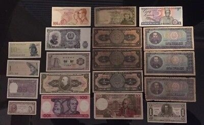 Lot Of 19 International Bills Paper Money Currency Mexico France Bulgaria Brazil