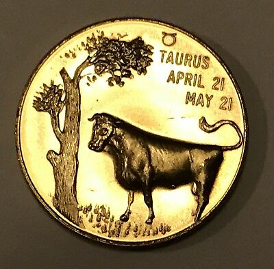 Vintage Taurus Zodiac Good Luck Token Old Coin