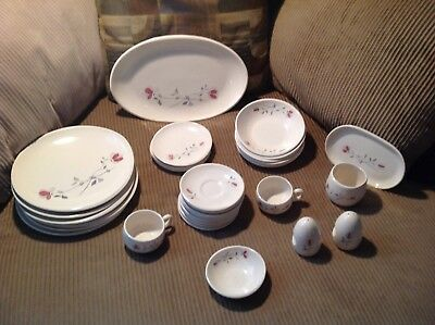 Mid Century Franciscan Earthernware USA Duet Rose Dishes Lot 35 Pieces