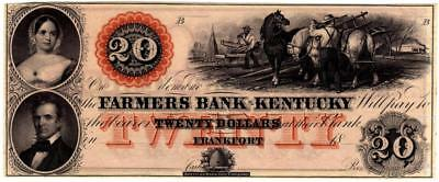 c.1850 Farmers Bank of Kentucky $20 Banknote-Frankfort-Spectacular Vignettes-AU