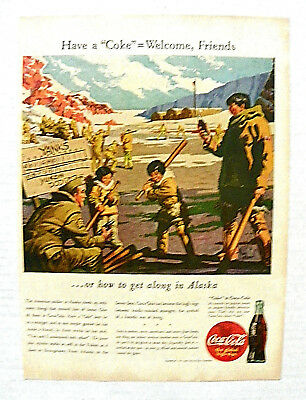 """1943,sept.20 Life Magazine """"have A 'coke'= Welcome, Friends"""" Soldier In Alaska"""