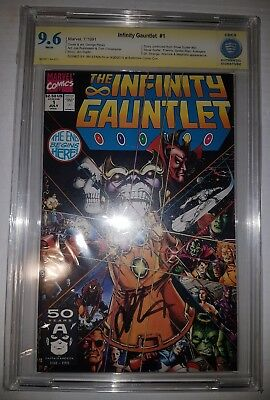 Infinity Gauntlet #1. Key issue! Graded CBCS (Not CGC ) 9.6. Signed by Starlin.