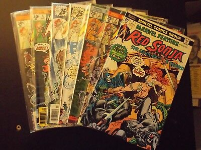 Marvel Feature Red Sonja Entire 1-7 Set Higher Grade 1975-76 Frank Thorne Conan