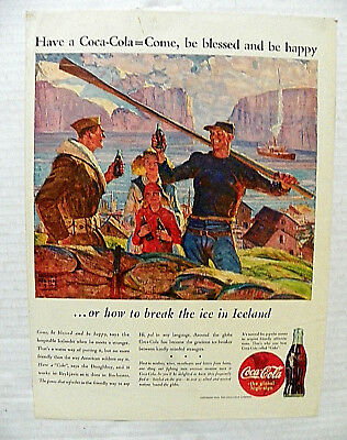 """1943,oct.18 Life Mag. """"have A Coca-Cola = Come, Be Blessed"""" Soldier In Iceland"""
