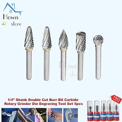 "1/4"" Shank Double Cut Burr Bit Carbide Rotary Grinder Die Engraving Tool Set 5pc"
