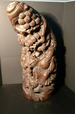 Unique Intricate Oriental Wood Carving - 13 1/2 Inches Tall