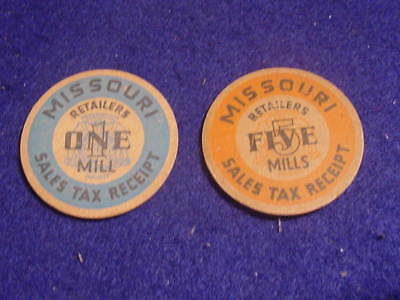 Lot Of 2 Vintage Missouri Retailers Sales Tax Receipt Tokens One Mill