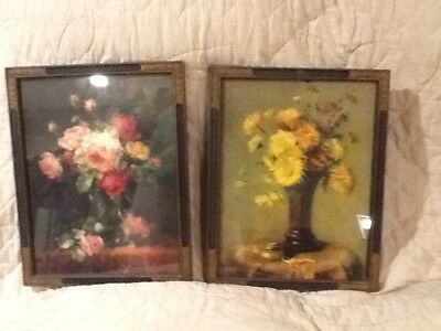 Beautiful Pair Of Floral Lithographs In Antique Art Deco Frames