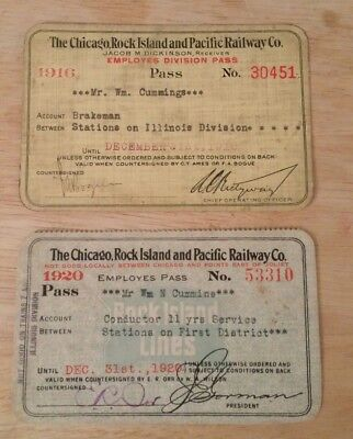 Chicago Rock Island Pacific Railway Railroad 1916 1920 Employed Pass Conductor