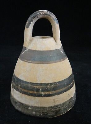 """Ancient Roman Pottery, Hand Painted Lid w/horizontal stripes, 3rd -4th c. 3 ½"""" t"""