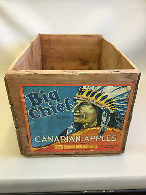 Vintage Original Wood Apple Crate Big Chief Brand  Vernon B.C. Canada