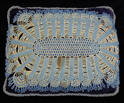 Antique Victorian Glass Beaded Pillow Cushion Blue