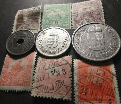 (WW2) 1941 Nazi Occ Hungary 20 Filler 1 & 2 Pengo Coin & early 1900's stamp lot