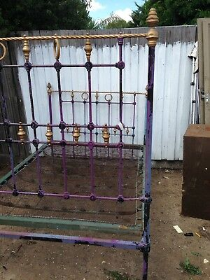 Antique Cast Iron Brass Double Bed