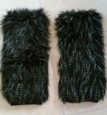 New w/Tags! Faux Fur Fashion Black Leg Muffs/Warmers