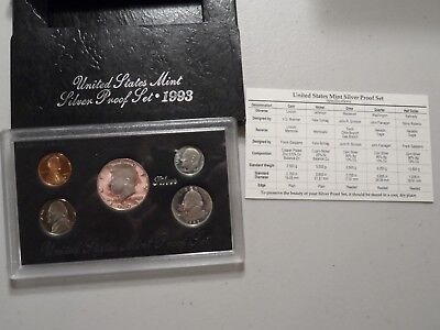 United States Mint 1993 Silver Proof Set in Box with COA Outer Box No Glue