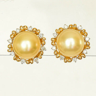 GOLDEN PEARL EARRINGS CULTURED 8.4mm PEARLS  GENUINE DIAMONDS REAL 14K GOLD NEW