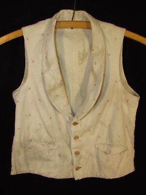 Young Man's 1840's Cotton Vest With Red Spring Design