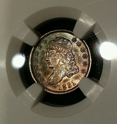 1831 5C Capped Bust Half Dime UNC Details NGC *Beautiful Toning Rainbow Reverse*